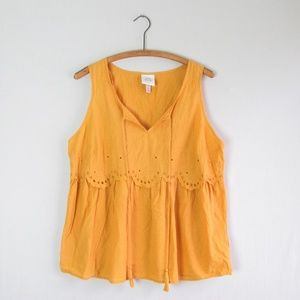 Knox Rose yellow mustard eyelet lace tank blouse